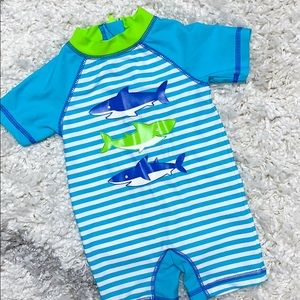 Little Me Shark Rashguard Blue Striped Swimsuit